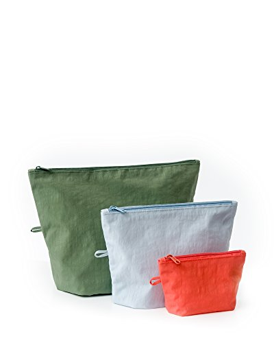 Nylon Flat Messenger - BAGGU Go Pouch Set, Expandable Nylon Zip Pouch 3 Pack for Travel and Organization, Tropical