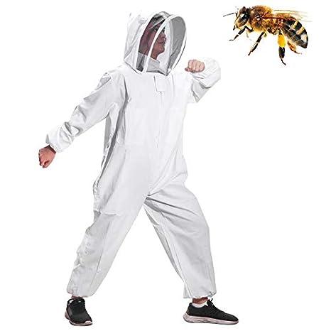 Moontay Baumwoll-Ganzkörper-Kleidung, mit Schleier, Kapuze, Handschuhe, Mütze, Schutz für Imker und Imker Mütze