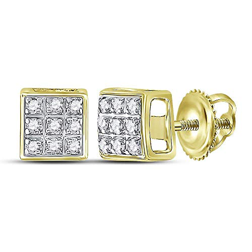 The Diamond Deal 10kt Yellow Gold Mens Round Diamond Square Cluster Stud Earrings 1/20 Cttw