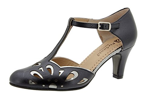 Calzado mujer confort de piel Piesanto 6278 salón fiesta zapato cómodo ancho Persia Negro