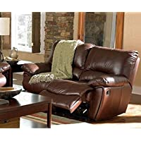 Clifford Brown Leather Double Reclining Love Seat by Coaster - Warm Brown Leather Match