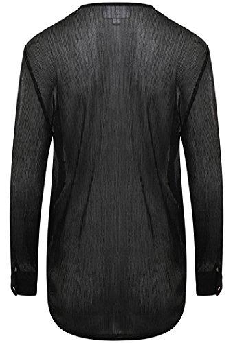 Avvolgente Camicia Donna Black Lunghe Unique Forever Maniche wvnAA8