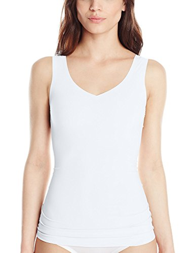 Flexees Women's Maiden Form Sleek Smoothers 2 Way Tank, White, Small