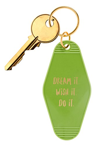 "Inspired Key Fob (Bops Retro Motel/Hotel Style Keychain ""Dream It. Wish It. Do It."" Vintage Inspired Keychain + Inspirational Quote)"