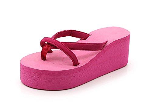 Tacones Cuña 40 De Zapatillas Playa Pink Tacón De De Chanclas Mujer Alto De Rosa 4wfwqES