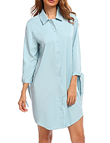 Women Long Sleeve Loose T Shirt Blouse Boyfriend, Light Blue, (Friend Womens Light T-shirt)