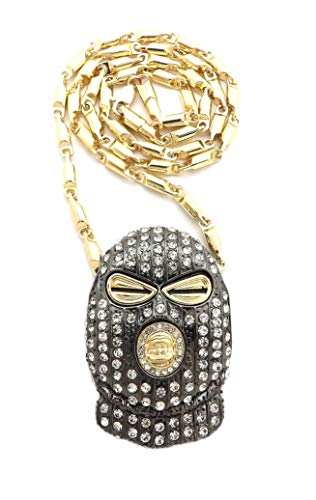 NYFASHION101 Colored Stone Stud Full Face Ski Mask Man Pendant with 4mm 24