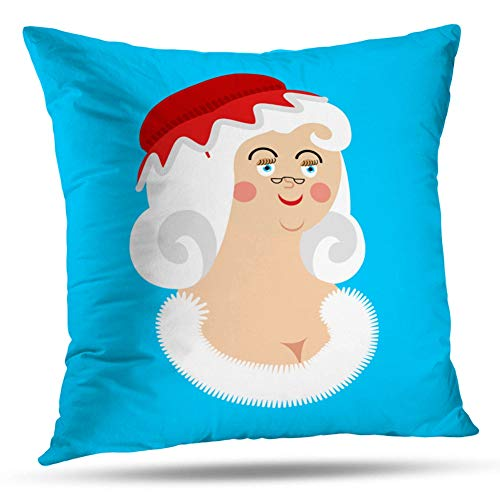 Kayel Interior Decoration Pillowcase Mrs Claus Face Wife Santa Christmas Woman Red Dress and for Bedroom Sofa Iiving Room Cushion Pillowcase Home Decoration 18x18 Inch ()