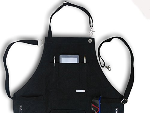 BEST CHOICE Waterproof All-Purpose Bib Apron - Workshop Waxed Canvas - 7x Pockets & 2 Shackles for Accessories & Tools - Totally Adjustable Neck and Waist Strap - Size S-XXL for Men & Women. by JFR USA Collection (Image #6)