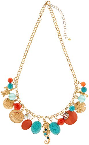 - Bay Studio Coral Multi Sea Life Charm Necklace Gold Tone Multi