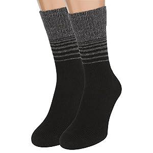 Wool Socks Black – Merino Wool Organic Cotton Heated Dress Boot Socks, 2 packs (Black, L size)
