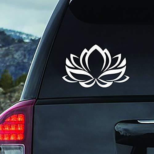 Lotus Flower White Vinyl Car Window Decal Sticker White Macbook Laptop 7x11 //pr2