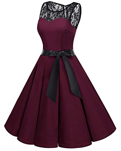 Dress Dress Rockabilly Cocktail Swing Lace Party Prom Burgundy Bbonlinedress 1950s Vintage Women's qRwxHvX
