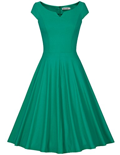 MUXXN Women's Classy Vintage Audrey Hepburn 1940s Dress With Sleeves (Grass Green XL) (40s Rayon Dresses)