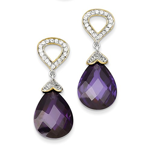 Sterling Silver & Vermeil Purple & Clear Teardrop CZ Post Dangle Earrings Length 34mm