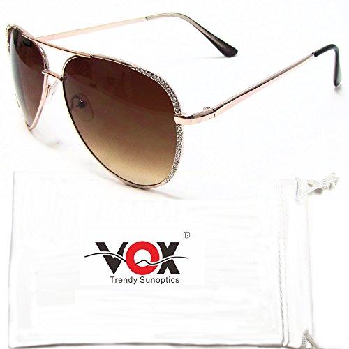 gafas de imitación mujer ámbar Vintage sol de gafas Marco oro de diamantes VOX Chic de diseñadora clásico Aviador qcHP1wWXX