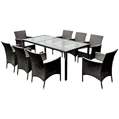 Tangkula 9PCS Patio Wicker Furniture Set Outdoor Garden Modern Wicker Rattan Dining Table Chairs Conversation Set with Cushions, Brown (9 PCS) - ❀Catch Your Eyeballs: Equipped with 8 single cushioned chairs and 1 glass dining table, it adopts solid steel frame and PE wicker with sponge cushions catching your eyeballs and guaranteeing you a durable using experience. The stylish dining set design doubles the comfort for you chatting and eating with your families and friends. ❀Moment to Carry: Made of lightweight rattan material, it can be carried easily and labor-efficiently to the desired place. Its compact structure and beautiful texture can surprisingly highlight your patio or poolside deco. Its compact design is perfect for a small deck, patio, balconies, apartment or terrace. ❀Effortlessly Clean Up: Table with removable tempered glass adds a sophisticated touch and allows you to places drinks, meals and other accessories on top. And you can clean it easily with just a wipe when there is water strain on it. The separable seat cushion also enables you a quick wash. - patio-furniture, dining-sets-patio-funiture, patio - 418edIukNdL. SS400  -