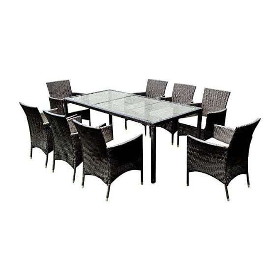 Tangkula 9PCS Patio Wicker Furniture Set Outdoor Garden Modern Wicker Rattan Dining Table Chairs Conversation Set with Cushions, Brown (9 PCS) - ❀Catch Your Eyeballs: Equipped with 8 single cushioned chairs and 1 glass dining table, it adopts solid steel frame and PE wicker with sponge cushions catching your eyeballs and guaranteeing you a durable using experience. The stylish dining set design doubles the comfort for you chatting and eating with your families and friends. ❀Moment to Carry: Made of lightweight rattan material, it can be carried easily and labor-efficiently to the desired place. Its compact structure and beautiful texture can surprisingly highlight your patio or poolside deco. Its compact design is perfect for a small deck, patio, balconies, apartment or terrace. ❀Effortlessly Clean Up: Table with removable tempered glass adds a sophisticated touch and allows you to places drinks, meals and other accessories on top. And you can clean it easily with just a wipe when there is water strain on it. The separable seat cushion also enables you a quick wash. - patio-furniture, dining-sets-patio-funiture, patio - 418edIukNdL. SS570  -