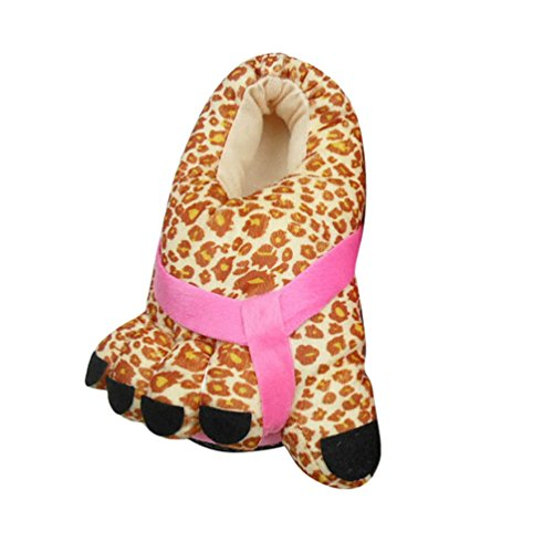YOUJIA Women Funny Feet Shape Big Toe Animal Print Novelty Home Non-Slip Slippers, UK(3-5) Leopard
