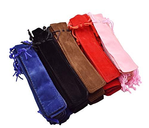 (100 PCS Velvet Sheath Pen Pouch (Red, Pink Blue, Black and Brown),Sleeve Holder, Single Pen Bag Case for Rollerball Pen,Fountain Pen,Ballpoint Pen and Pencil)