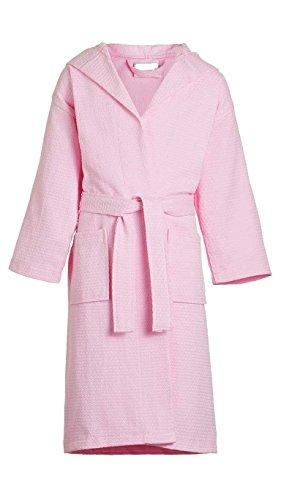 Goza Towels Kids Hooded Cotton Waffle Bathrobe (Large, Pink)