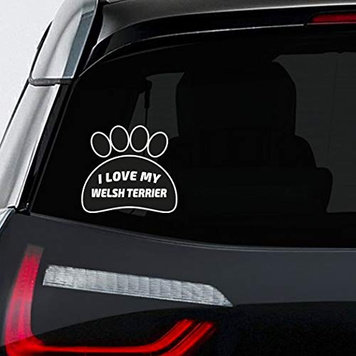 Makoroni - I LOVE MY WELSH TERRIER Pet Dog Sticker Decal - 5'by6'(Small) or 8'by9'(Large)