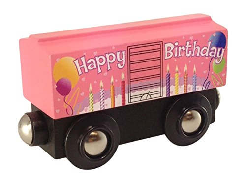 Pink Birthday Boxcar magnetic wooden