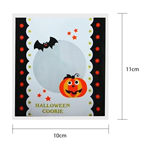 2017 Halloween Candy Bags,Elevin(TM)100 pcs Happy Halloween Children Kid Candy Bag Snack Packet Gift Candy Boxes Bags Anniversary Party Home Decor (B)]()
