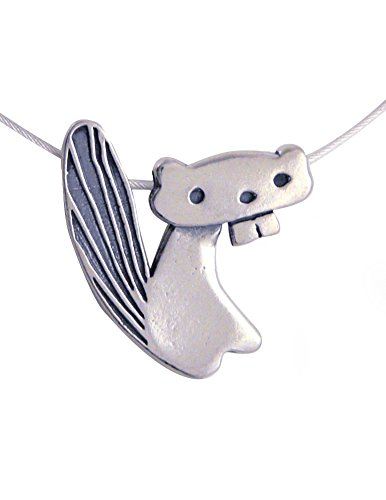 Modern Artisans Beaver Sterling Silver Charm Necklace, American Made