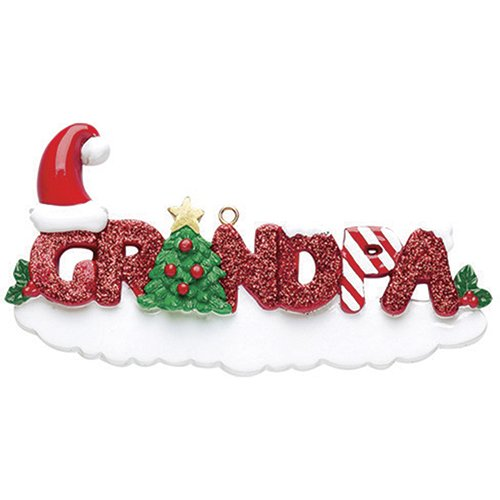Personalized Grandpa Christmas Tree Ornament 2019 - Glitter Red Word Holly Santa Hat Green World's Greatest Kid Love Member Memory Tradition Special Forever Candy Cane - Free Customization