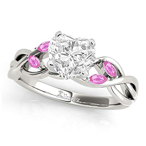 (Twisted Heart Pink Sapphires Engagement Ring Palladium (1.50ct) )