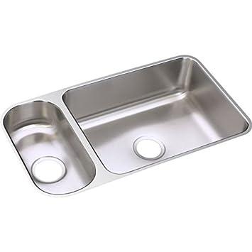 Elkay Lustertone ELUH3219DBG 30/70 Double Bowl Undermount Stainless Steel Sink  Kit