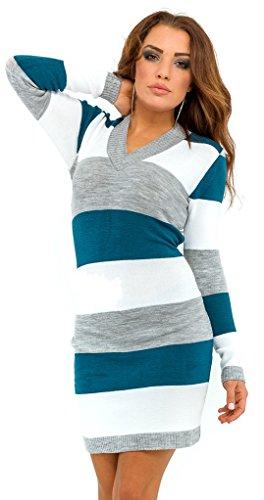 Glamour Empire. Womens Knit Stretchy Warm Jumper Dress Sweater Top Stripes. 405 (Aqua, ONE SIZE US 4/6/8)