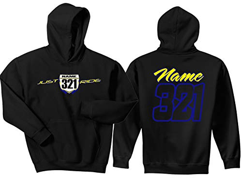 JUST RIDE Motocross Number Plate Custom Personalized Hoodie Sweat Shirt YZ (Large, Blue/Yellow-Black #'S)