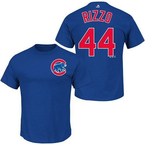 Majestic Anthony Rizzo Kids Chicago Cubs Blue Name and Number Jersey T-Shirt Medium 5-6 -