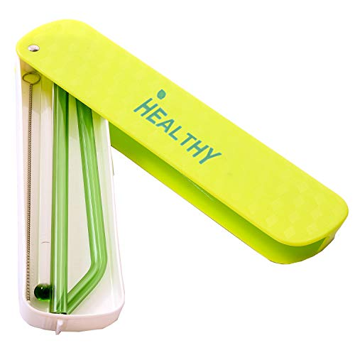 HEALTHY Glass Straws Private Solid Box Multi Color 200 mm X 8mm Reusable Drinking Straw Case Set Perfect for Home, Office or Gift - Green, Orange, Pink, Blue ()