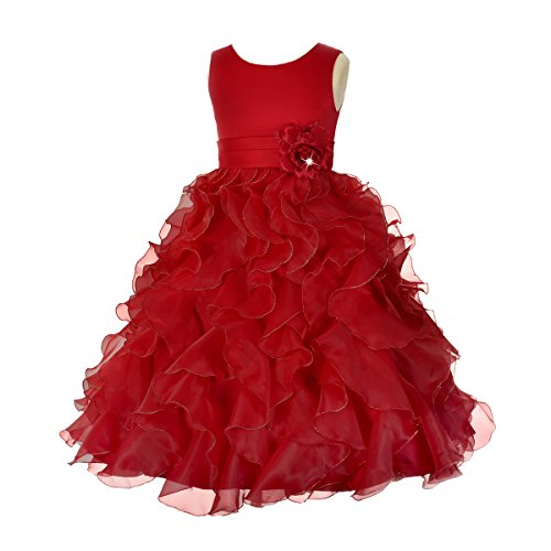 (Dressy Daisy Girls' Satin Organza Ruffle Flower Girl Dresses Pageant Gown Party Occasion Dress Size 4T Burgundy)