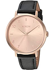 Nixon Womens Arrow Leather Quartz Stainless Steel Casual Watch, Color:Black (Model: A10911098)