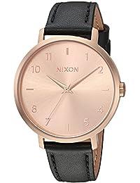 Women's 'Arrow Leather' Quartz Stainless Steel Casual Watch, Color:Black (Model: A10911098)