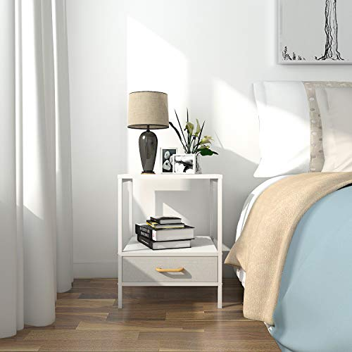 Lifewit Small Nightstand Bedside Table End Table with Fabric Drawer for Bedroom, Side Table Sofa Table, Modern Design, Easy Assembly and Sturdy, White, 15.7 × 15.7 × 20 in