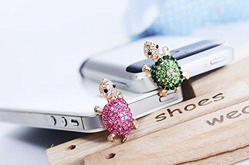 ZOEAST 2pcs Bling Pink Green Tortoise Sea Turtle Nemo Dust Plug 3.5mm Phone Headphone Jack Earphone Ear Cap Dust Plug Charm iPhone 4 4S 5 5S 6 6S Plus Huawei Samsung iPad iPod (Tortoise 2pcs)