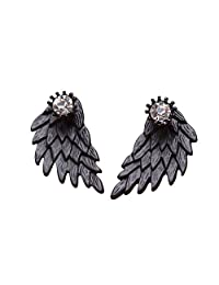MengPa Gothic Angel Wings Stud and Ear Jacket Cuff Earrings for Women