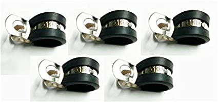 10 Marine Grade Stainless Steel Rubber-Lined P-Clip 21mm Hose Pipe Clamp M6 Hole