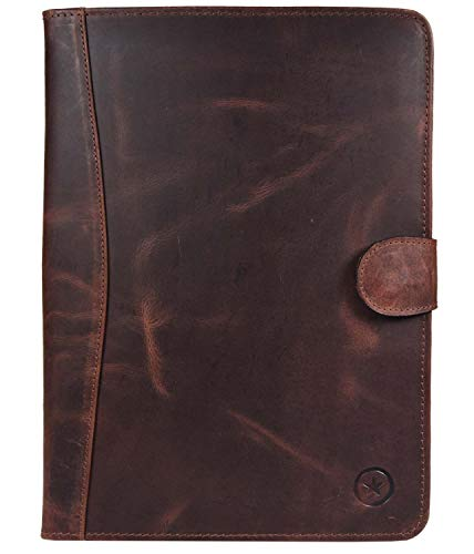 Leather Travel Portfolio | Professional Organizer Men & Women | Tablet Holder Leather Padfolio with Sleeves for documents and Ipad by Aaron Leather (Magnetic Closure, Brown)