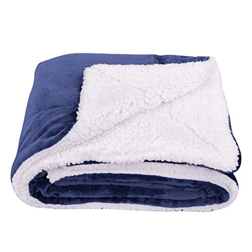 SOCHOW Sherpa Fleece Throw Blanket, Double-Sided Super Soft Luxurious Plush Blanket Throw Size, Navy Blue (And Navy Blankets Throws Blue)