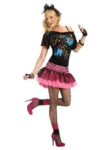 Fun World Women's 80s Pop Party Costume, Multi 1, Med/Lrg (Halloween Costumes 80s Valley Girl)