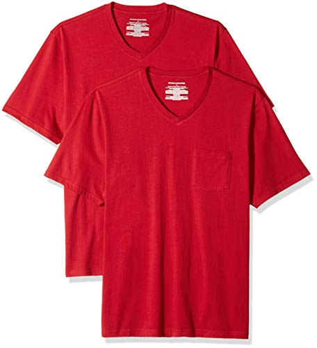Amazon Essentials Men's 2-Pack Regular-Fit V-Neck Pocket T-Shirt, red, X-Large for $<!--$12.00-->