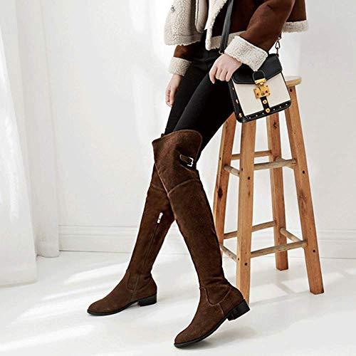 Reißverschluss Hohe Warme Frauen Low Stiefel Taktische Stiefel Flache Slouch Seitliche Block Overknee Stretch Ferse Partei Reitstiefel Spitz Ufxpn