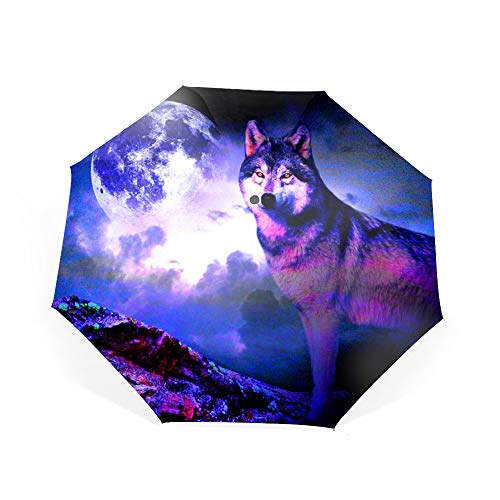 Travel Umbrella Compact Automatic Open Close Folding Wolf Spirit Moon Umbrellas fit Golf Purse Backpack Wind Resistant for Men and Women
