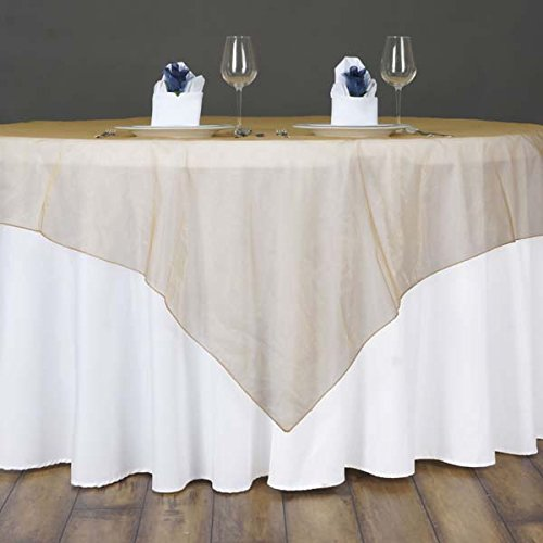 Tableclothsfactory Gold Organza Table Overlay 60x60 (Table Toppers)-Pack of 5